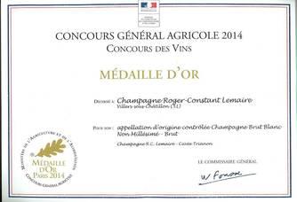 Médaille d'Or du prestigieux Concours General Agricole de Paris
